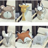 Wholesale giraffe beds resale online - Cute Animals Fox Rabbit Bear Giraffe Deer Elephant Cushion Pillow Baby Calm Sleep Doll Nordic Style Bed Room Decor Toys For Kids Q190521