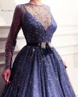 Wholesale size 28w special occasion dresses online - Jewel Neckline Pearls A line Long Sleeves Prom Dresses High End Quality Party Dress In Hot Sales