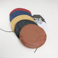 шляпа черных художников оптовых-Берет из искусственной кожи осень и зима японская дикая шляпа женский ретро черный колпак тыква мужской