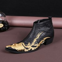 заостренные сапоги для мужчин оптовых-Leather Boots Black Boots Men Europe and the United States Pointed Fashion Shoes, England  Men Shoes