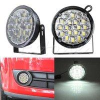 motorrad drl großhandel-1 para Weiß 2 * 18 LED DRL Runde Tagfahrlicht Auto Nebelscheinwerfer Lampe für Lkw SUV ATV Motorrad Bike