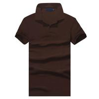kısa kollu polo şort erkek toptan satış-Üst giyim Yeni Erkekler Polo Gömlek Erkekler Küçük At Nakış Iş Rahat katı erkek polo gömlek Kısa Kollu nefes polo gömlek