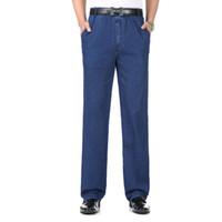 jeans azul oscuro macho al por mayor-Men Casual Denim Pant Light Dark Blue Denim Pantalones Hombre Primavera Otoño Verano Pantalones Vaqueros para hombre Pantalones de ocio para hombre Cintura elástica
