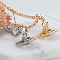 kleine silberne perlen großhandel-Britische West Queen Mother Vivian kleine Glasperlen dreidimensionale Saturn Halskette