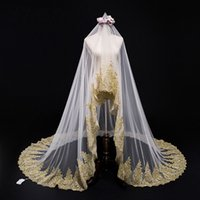 Wholesale lace wedding dresses long veils for sale - Group buy Luxury Gold Lace Appliques Meters Wedding Veils For Bride Cheap White Ivory With No Comb Long Amazing Bridal Veil Country Wedding dress