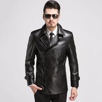 ingrosso giacche in pelle doppia a doppia mensola-New Winter Leather Jacket Uomo Doppio petto Giacche in pelle da motociclista Uomo Cappotto collare da uomo nero