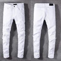 Wholesale flying pan resale online - new fashion men holes jeans Top quality Men Pure white slacks Man straight Slim Denim casual Trousers Fashion Casual Designer men pan