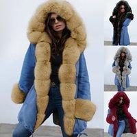 zarif palto avrupa toptan satış-Avrupa Ve Amerika Sıcak Satış Zarif Kış KADIN Elbise Sıcak Coat Kapşonlu Palto Kürk Yaka Pamuk dolgulu Giyim 19d014