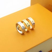 Wholesale carving rings for sale - Group buy Europe America Fashion Brand Jewelry Lady Titanium Steel Carving Four Leaf Flower V Letter K Gold Narrow Rings Color Size