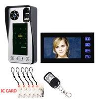 система доступа к дверям с отпечатками пальцев оптовых-MOUNTAINONE 7 дюймов отпечатков пальцев IC карты видео-телефон двери домофон дверной звонок с системой контроля доступа двери