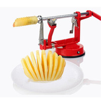 Wholesale kitchen sucker resale online - Birthday Party Stainless Steel In Apple Peeler Cutting Fast Fruit Slicing Creative Home Kitchen Tool Remove Nucleus Double Headed Sucker
