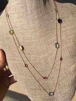 Wholesale stone necklace materials resale online - 2020 Top quality brass material pendant with colorful stone style necklace earring bracelet for wedding gift PS5026