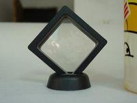 mücevher vitrini standı toptan satış-Siyah Beyaz Askıya Yüzen Vitrin Mücevherat Yüzük Paraları Mücevher Taşlar Standı Tutucu Saklama Kutusu 7 * 7 * 2 cm