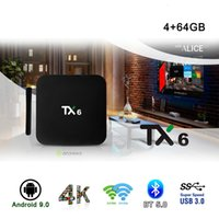 android set box iptv großhandel-TX6 Smart TV Box Android 9.0 4K IPTV 4GB DDR3 64GB EMMC BT 4.1 Unterstützung Dual Wifi 2.4G / 5GHz Youtube H.265 Set Top Box