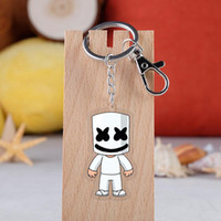 anahtar oyuncaklar toptan satış-DJ Marshmello Anahtar kolye Çift taraflı Şeffaf Anahtarlık kolye Cartoom DJ Marshmello Anahtarlık Parti Toys 7styles RRA2036 Favor
