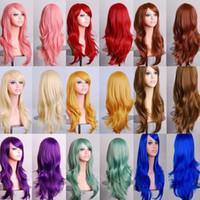 ingrosso lunghe parrucche colorate-Cos parrucca lunga riccia cosplay colorato spettacolo parrucca capelli 13 colori