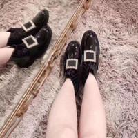 botas de tornozelo de diamante negro venda por atacado-TS Praça de Metal Diamante Ankle Boots de Alta Qualidade Moda Retro Outono Inverno Show Das Senhoras Das Mulheres Pantoufle Sapatos TSYSXZ012 Preto