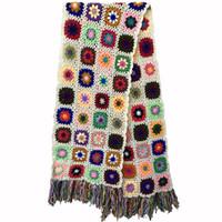 Wholesale crochet scarf tassels resale online - 2019 Hand made scarfs Women Tassel Scarf Wraps cm Big Crochet Flower scarves autumn winter Handmade Christmas Gift Scarves