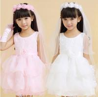 voiles blanches des filles achat en gros de-2019 nouvelle arrivée deux couches blanc et rose voile de mariée fille de fleur avec guirlande de mariage voile pour les filles