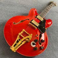 e-gitarre schwarzer tremolo großhandel-Custom 335 Transparent Rot Semi Hollow Jazz E-Gitarre Tremolo System Gold Schwarz Schlagbrett Palisander Griffbrett 190318