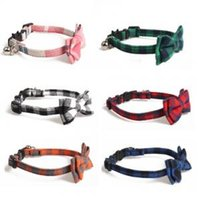 Wholesale adjustable ties resale online - Lattice Pet Bow Tie Collar Adjustable Buckle Necktie Cats Band Fashion Wedding Accessories Pet Supplies LJJP197