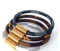 charme armband armbänder zum verkauf großhandel-Heißer Verkauf Neue Modemarke Schmuck 316L Edelstahl Armbänder Armreifen pulseiras Leder Armbänder Für Frauen / Männer Geschenk