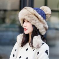 ingrosso cofano di coniglio-cappello Beanie di inverno le donne del nuovo cappello lavorato a maglia cappello Angola caduta protezione femminile di pelliccia di coniglio Bonnet 's ragazza con pelliccia pom pom