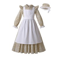 Wholesale yellow aprons resale online - Pettigirl Yellow Flower Print Girl Dress Pleated Apron With Cute Hat Boutique Girls Suit Dress Dropshipping G DMCS204 G009