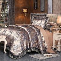 ingrosso set di lenzuola di lusso marrone-4 pezzi set di biancheria da letto in pizzo di cotone raso di seta marrone argento matrimoniale queen size copripiumino copripiumino copripiumino