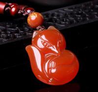 pequena raposa vermelha venda por atacado-Natural ágata vermelha atacado pequeno pingente de jade pingente de jade jóias para homens e mulheres de cristal jade jade fox pingente de fada