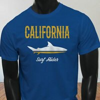 Wholesale rider shirts for sale – custom CALIFORNIA SHARK SURF RIDER SUMMER BEACH OCEAN Mens Blue T Shirt