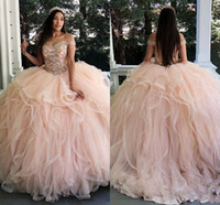 Wholesale tulle blush prom dresses for sale - Group buy New Luxury Blush Pink Ball Gown Quinceanera Dresses Off Shoulder Crystal Beaded Tulle Sweet Plus Size Party Prom Dress Evening Gowns