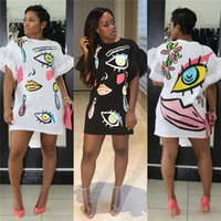 grande robe à manches bouffantes achat en gros de-Wome Big Lips Cartoon Robe de chemise d'été Flouncy manches courtes manches bouffantes T-shirt Jupe Fashion Club Party Wear robes S-XL C41605