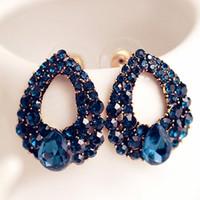 boucles d'oreilles bleu marine achat en gros de-Creative boucles d'oreilles en forme de goutte d'eau pour les femmes filles marine bleu zircon boucles d'oreille bijoux de mariage de fête