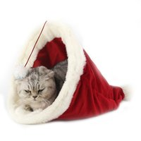 ingrosso cappelli per l'inverno-New fashion Christmas Hat Pet Nest Peluche Mat Winter Warm Cat Puppy Nest Pet Sleeping Red bag Morbidi letti per cani in pile polare