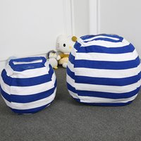 Wholesale stuffed toy clothes resale online - Stripe Storage Bean Bag Kids Stuffed Animal Toys Globular Storage Pouch Play Mat Portable Clothes Organizer Tool with Zipper Colors