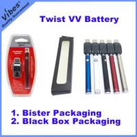 baterías ajustables evod al por mayor-Batería de vape de precalentamiento VV Twist Twist 510 - 5 colores Voltaje ajustable 2V-4V Evod Bud Bottom Twist Ecig Battery