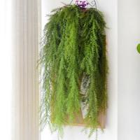 ingrosso piante di pino-Green Pine Needle Plant Decorazione della parete Applique da parete in pino Ago Appeso Decorazione della casa Pianta artificiale Forniture per matrimoni Decorazione