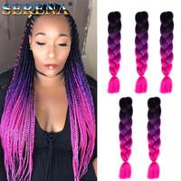 Wholesale ombre kanekalon braiding hair three tone resale online - Ombre Xpression Braiding Hair Three Tone Jumbo Crochet Braids Synthetic Hair Extensions Inches Braid Kanekalon Braiding Hair