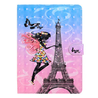 Wholesale mini eiffel towers resale online - 3D Eiffel Tower Leather Case For ipad Air Air2 Ipad Mini Wallet Unicorn Skull Fairy Flower Holder Cover