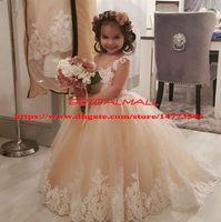 meninas flor primeira comunhão venda por atacado-2019 Flor Meninas Vestidos Para Casamentos Champagne Vestido de Baile Sheer Neck Tulle Tutu Infantil Vestidos de Festa de Aniversário Primera comunion