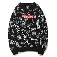 großes sweatshirt großhandel-Mens weiß Designer Hoodie Sweatshirt Sweat Coat Pullover gedruckt Rundhals Langarm Flut männlich lose beiläufige T-Shirt Größe Pullover
