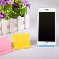 festlegung von mobiltelefonen großhandel-Mini tragbare feste Handyhalter niedlichen Telefon stehen Kunststoff Lagerregal Candy Farbe Handy stehen