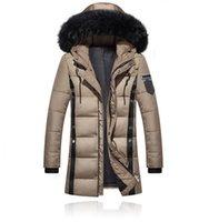 chaqueta larga acolchada hombre al por mayor-Parkas engrosamiento de los hombres chaqueta de invierno 2018 hombres de las capas de abrigo masculino cuello de piel Casual algodón largo Wadded hombres capa encapuchada SH190929