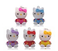 Wholesale pens usb drive resale online - Hot sell Hello Kitty Usb Flash Drive gb Pen Drive gb Pendrive gb gb gb Cartoon U Disk Flash Card hot sale Memory stick