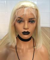 bakire saç kökü toptan satış-Yoğunluk 150% 613 Sarışın Dantel Ön Peruk Bebek Saç Ile Önceden Mühürlü Brezilyalı Virgin İnsan Saç Peruk Siyah Kadınlar için Tam Kısa Bob Peruk