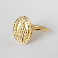 mary ring al por mayor-oro 3pcs nuevo de la manera Virgen María anillos de medalla redonda anillo del dedo índice abierto de plata femenina regalo de la joyería