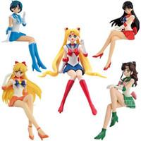 figura menina quente brinquedo venda por atacado-Venda 15 centímetros Hot Anime Sailor Moon Tsukino Usagi Hino Rei Mercury Ami PVC Action Figure Toy para o presente meninas