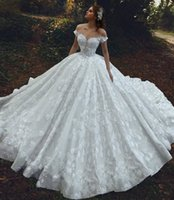 Wholesale sexy low cut wedding dresses for sale - Group buy Gorgeous Lace A Line Wedding Dresses For Saudi Arabic Women Off Shoulders Sexy Low Cut Back Chapel Train Long Bridal Gowns Formal