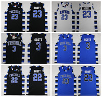 один трикотаж оптовых-NCAA One Tree Hill Вороны Баскетбол Джерси Брат Фильм 3 Лукас Скотт 23 Натан Скотт Черный Белый Синий